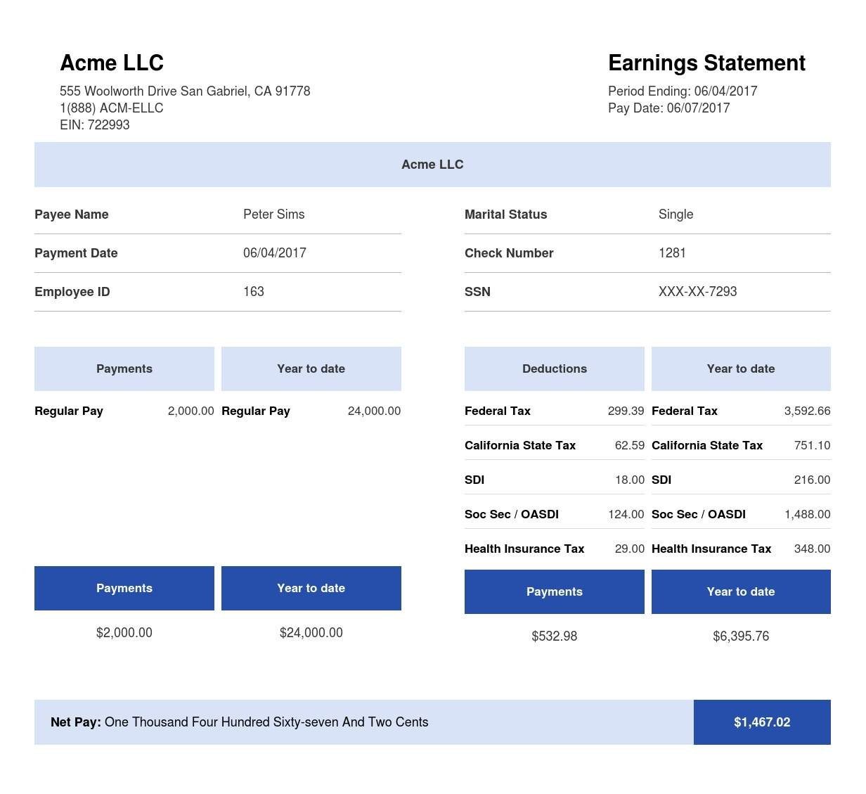 Square Blue & White Paystub Sample Template