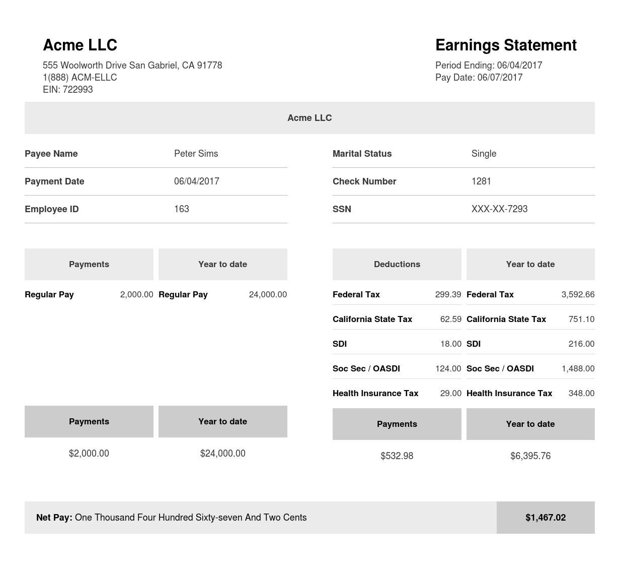 Square Black & White Paystub Sample Template