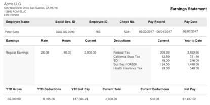 Short Black & White Paystub Sample Template